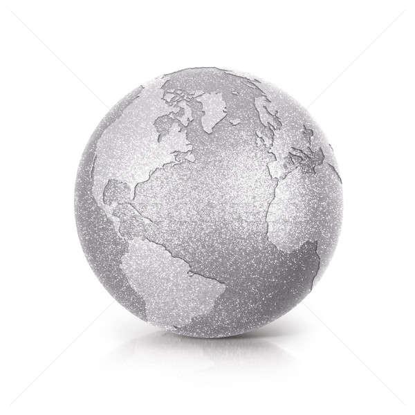 Ezüst csillámlás földgömb 3d illusztráció észak dél-amerika Stock fotó © 7Crafts