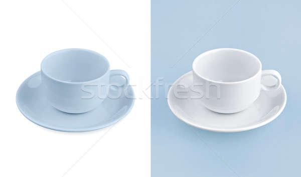 Beker witte Blauw textuur achtergrond thee Stockfoto © 7Crafts