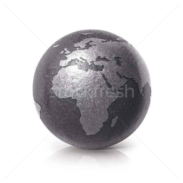 Stok fotoğraf: Siyah · demir · dünya · 3d · illustration · Avrupa · Afrika