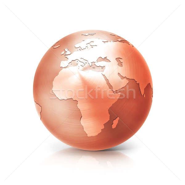 銅 世界中 3次元の図 ヨーロッパ アフリカ 地図 ストックフォト © 7Crafts