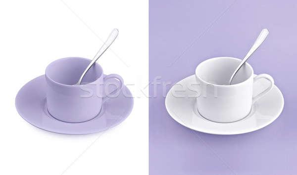 Beker witte paars textuur achtergrond thee Stockfoto © 7Crafts