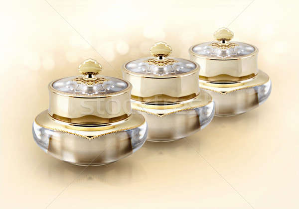 Golden crown cosmetic jar on glitter background Stock photo © 7Crafts
