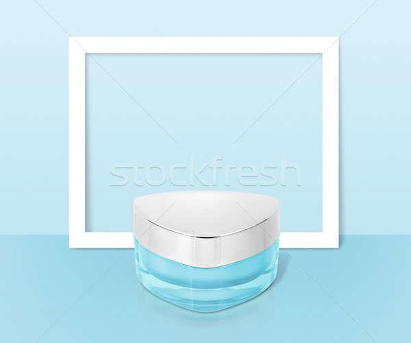 Mavi üçgen kozmetik kavanoz kâğıt çerçeve Stok fotoğraf © 7Crafts