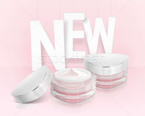 Pink triangle cosmetic jar on paper hanging background Stock photo © 7Crafts