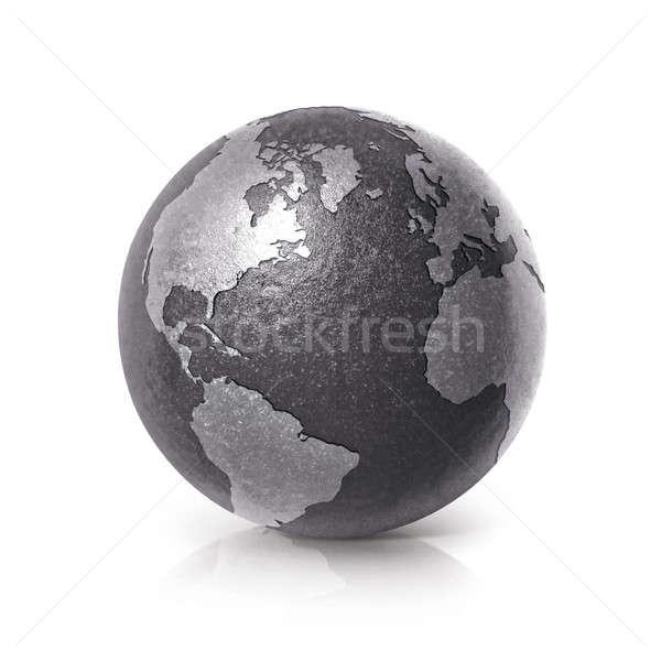 Fekete vasaló földgömb 3d illusztráció észak dél-amerika Stock fotó © 7Crafts