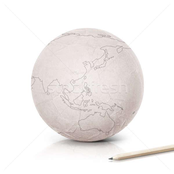 Ázsia Ausztrália térkép papír földgömb fehér Stock fotó © 7Crafts