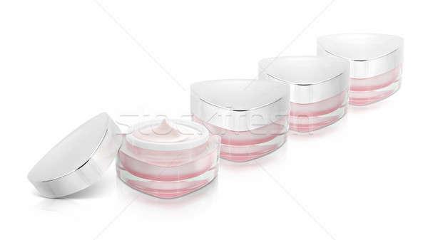 Veel roze driehoek cosmetische jar witte Stockfoto © 7Crafts