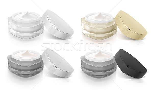 Klassiek kleur driehoek cosmetische jar Open Stockfoto © 7Crafts