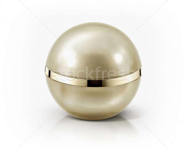 Altın küre kozmetik kavanoz beyaz arka plan Stok fotoğraf © 7Crafts