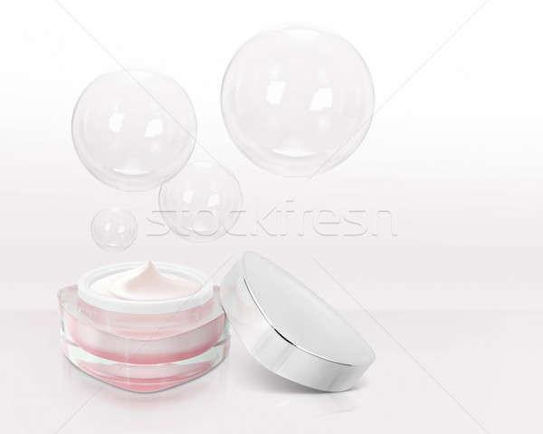 Roze driehoek cosmetische jar bubble oranje Stockfoto © 7Crafts