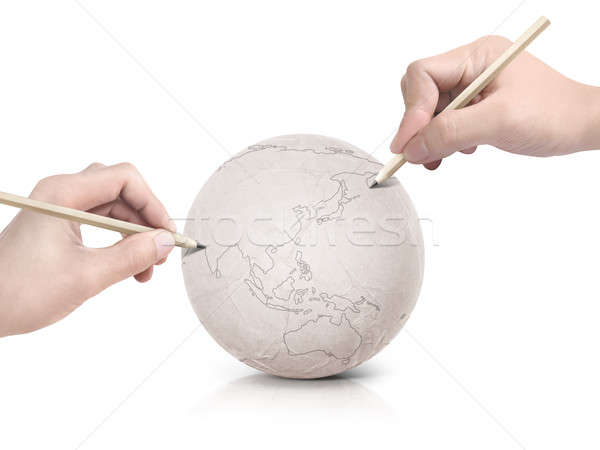 Twee hand tekening asia kaart papier Stockfoto © 7Crafts