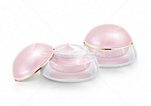 Two pink dome cosmetic jar on white background Stock photo © 7Crafts