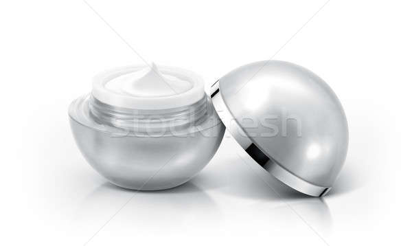 Silver sphere cosmetic jar on white background Stock photo © 7Crafts