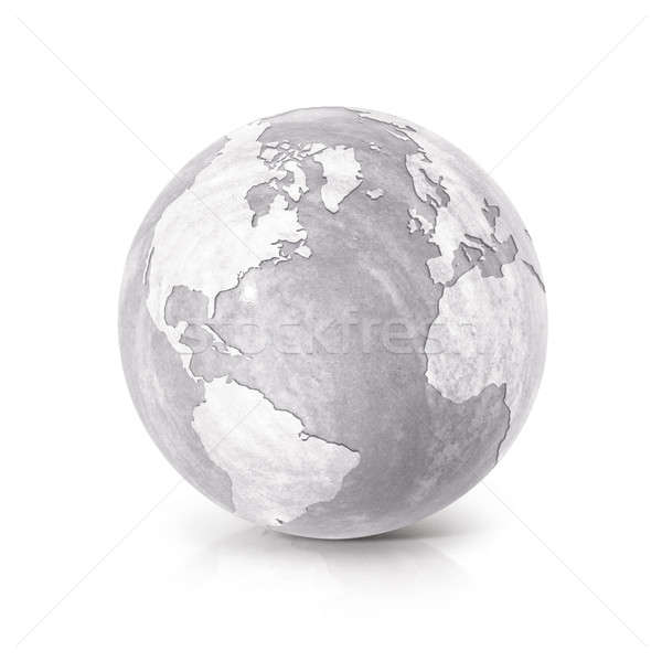 Cement globe 3D illustration North and South America map Stock photo © 7Crafts