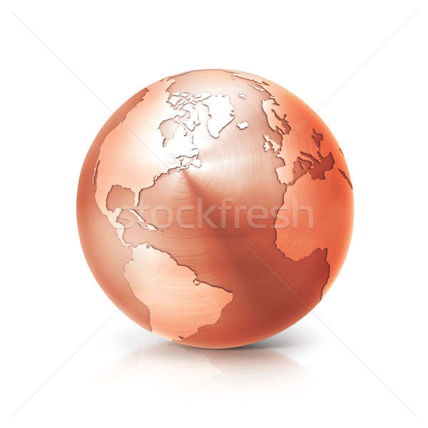copper globe 3D illustration north and south america map Stock photo © 7Crafts