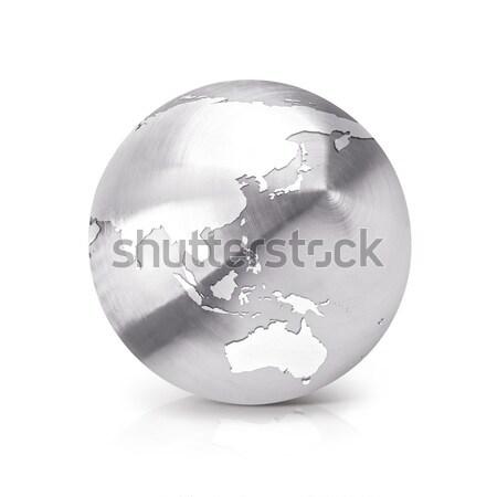 Stainless globe 3D illustration Asia & Australia map Stock photo © 7Crafts