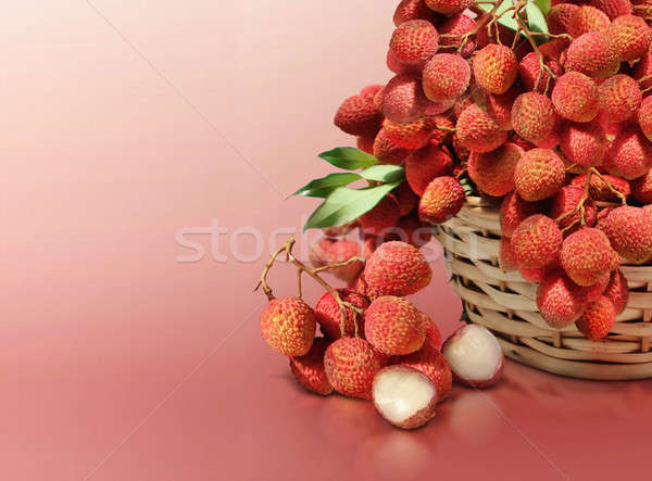Lychee on red solid background Stock photo © 7Crafts