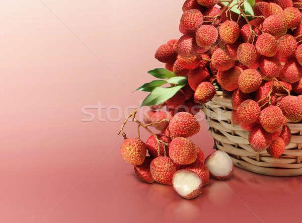 Kırmızı katı arka plan yaz çiftlik meyve Stok fotoğraf © 7Crafts