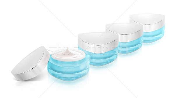 çok mavi üçgen kozmetik kavanoz beyaz Stok fotoğraf © 7Crafts