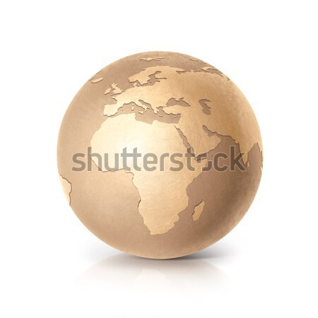 Gouden wereldbol 3d illustration Europa afrika kaart Stockfoto © 7Crafts