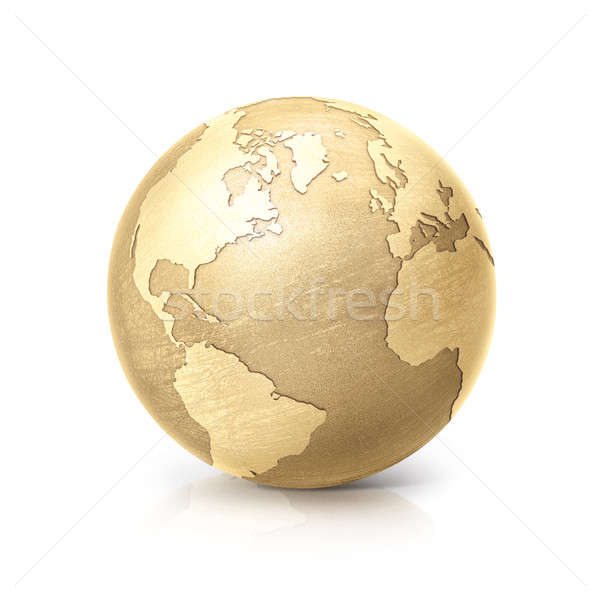 brass globe 3D illustration north and south america map Stock photo © 7Crafts