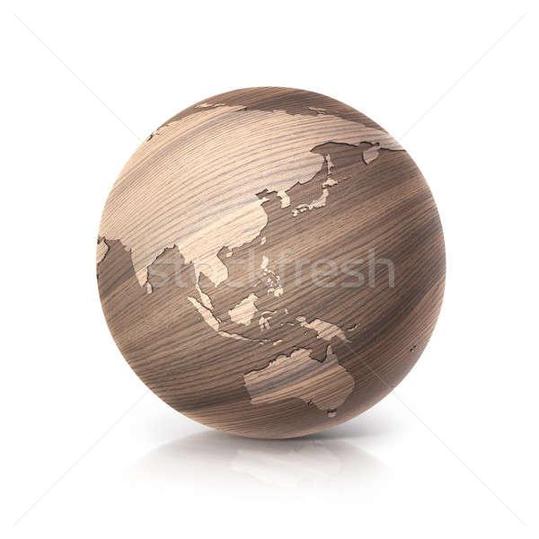 Eiken hout wereldbol 3d illustration asia Australië Stockfoto © 7Crafts