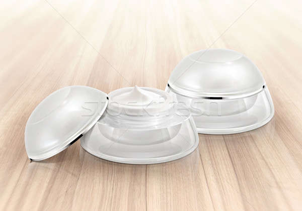 Beyaz kozmetik kavanoz ahşap sağlık arka plan Stok fotoğraf © 7Crafts