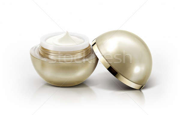 Golden sphere cosmetic jar on white background Stock photo © 7Crafts
