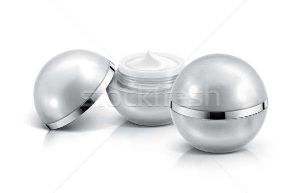 Dwa srebrny sferze kosmetycznych jar biały Zdjęcia stock © 7Crafts