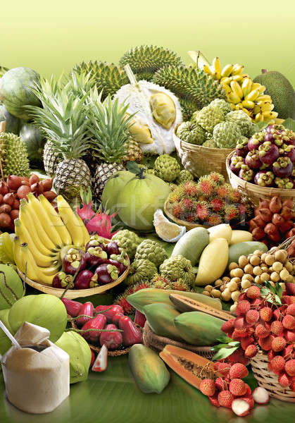 Tropikal meyve muz yaprak gül meyve arka plan Stok fotoğraf © 7Crafts