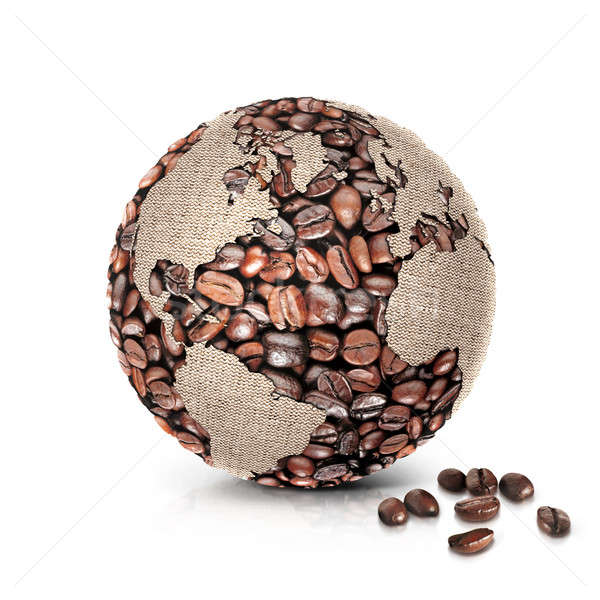 coffee world 3D illustration north and south america map Stock photo © 7Crafts