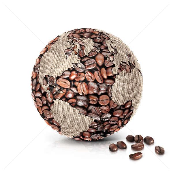 Kahve dünya 3d illustration kuzey güney amerika harita Stok fotoğraf © 7Crafts