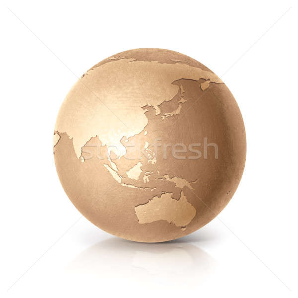 Gouden wereldbol 3d illustration asia Australië kaart Stockfoto © 7Crafts