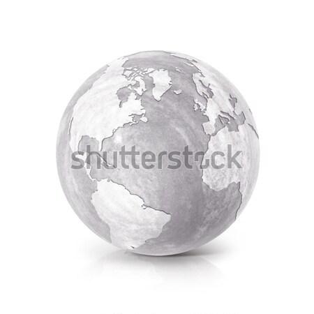 Jég földgömb 3d illusztráció Ázsia Ausztrália térkép Stock fotó © 7Crafts