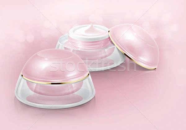 Pembe kubbe kozmetik kavanoz parıltı dizayn Stok fotoğraf © 7Crafts