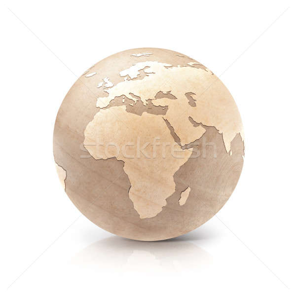 Wood globe 3D illustration europe and africa map Stock photo © 7Crafts