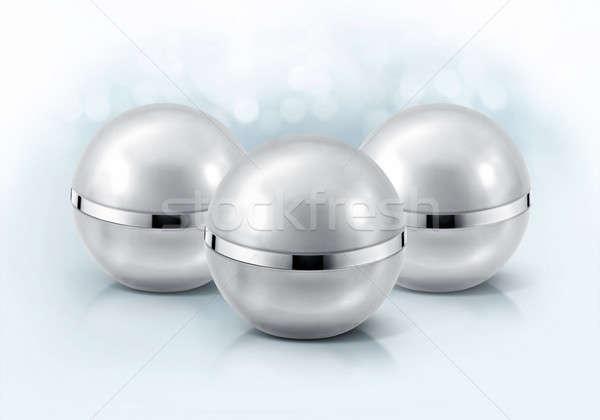Stok fotoğraf: Gümüş · küre · kozmetik · kavanoz · parıltı · arka · plan