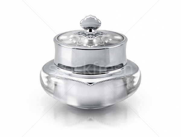 Single silver deluxe cosmetic jar on white background Stock photo © 7Crafts