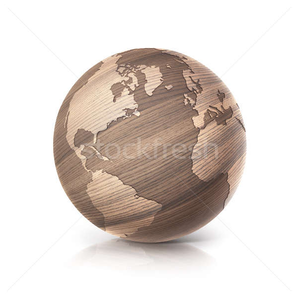 oak wood globe 3D illustration north and south america map Stock photo © 7Crafts
