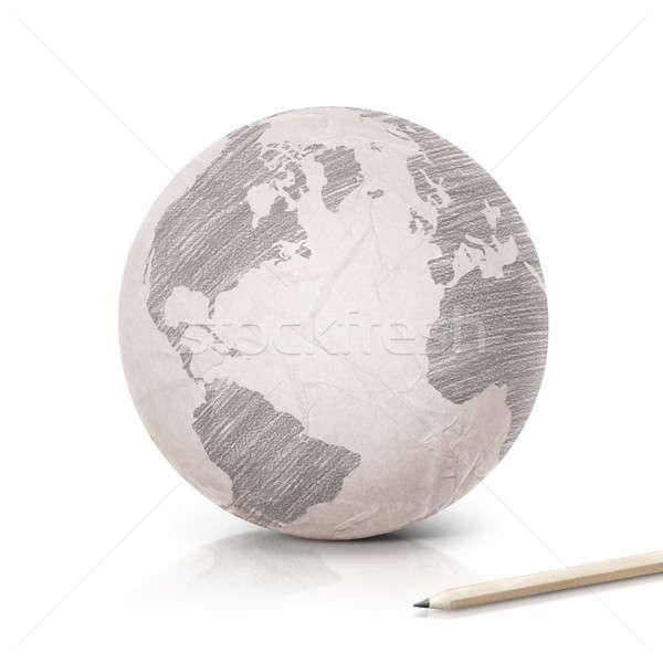 Gölge Amerika harita kâğıt dünya beyaz Stok fotoğraf © 7Crafts