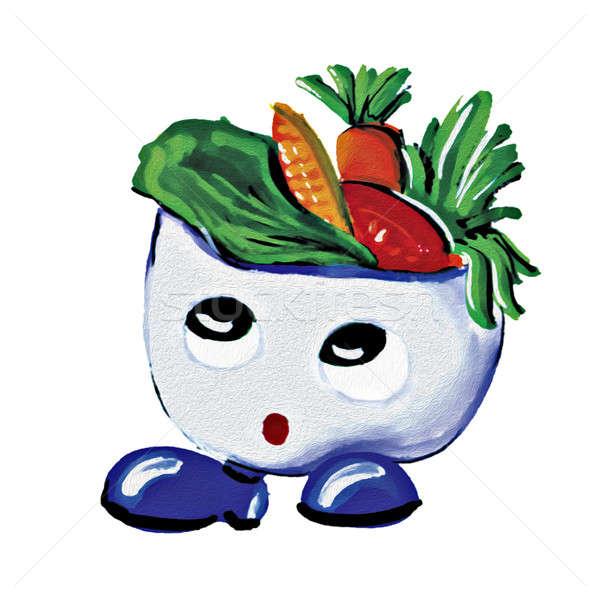 Boyama salata erkek karakter beyaz su Stok fotoğraf © 7Crafts