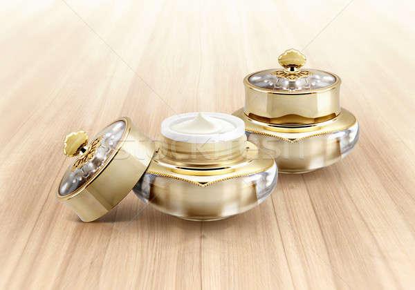 Altın taç kozmetik kavanoz ahşap sağlık Stok fotoğraf © 7Crafts