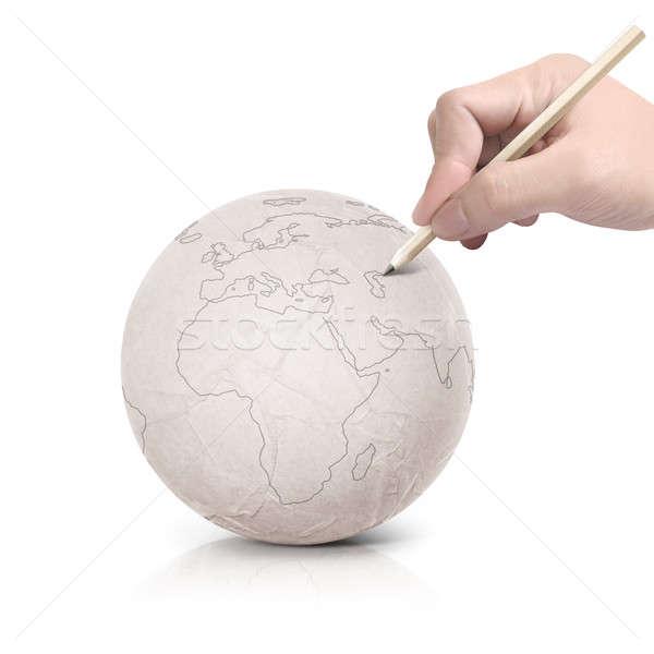 çizim Avrupa harita kâğıt top beyaz Stok fotoğraf © 7Crafts