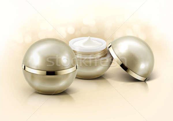 Or sphère cosmétiques jar glitter fond Photo stock © 7Crafts