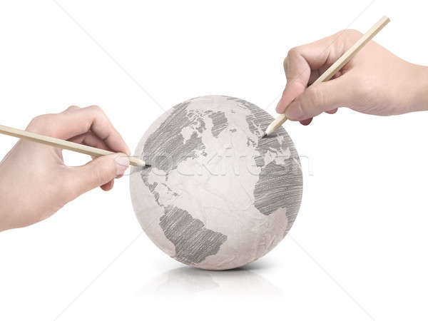 Two hand shade drawing America map on paper ball Stock photo © 7Crafts