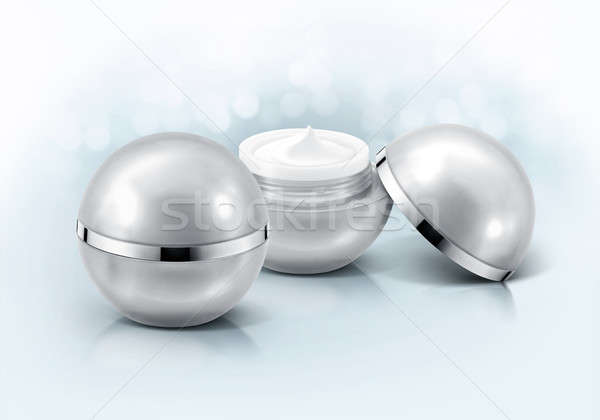 Silver sphere cosmetic jar on glitter background Stock photo © 7Crafts