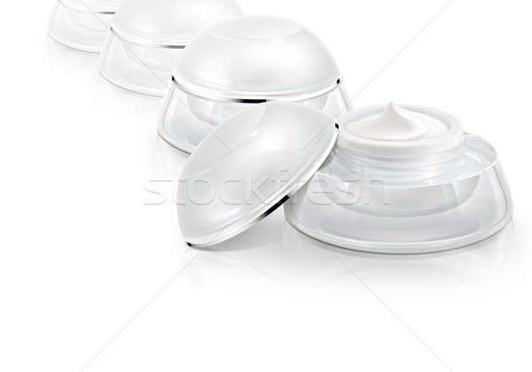 Verscheidene witte cosmetische jar gezondheid achtergrond Stockfoto © 7Crafts