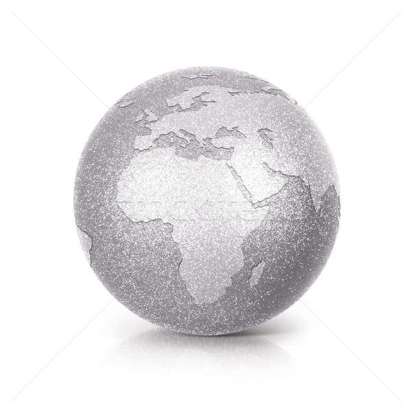 Gümüş parıltı dünya 3d illustration Avrupa Afrika Stok fotoğraf © 7Crafts