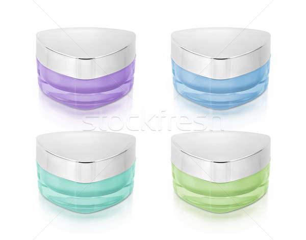 Serin renk üçgen kozmetik kavanoz beyaz Stok fotoğraf © 7Crafts