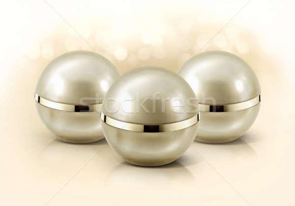 Altın küre kozmetik kavanoz parıltı arka plan Stok fotoğraf © 7Crafts